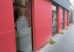 Adhésifs opaques sur vitrine du restaurant Le Croque Bedaine à Nantes (44)