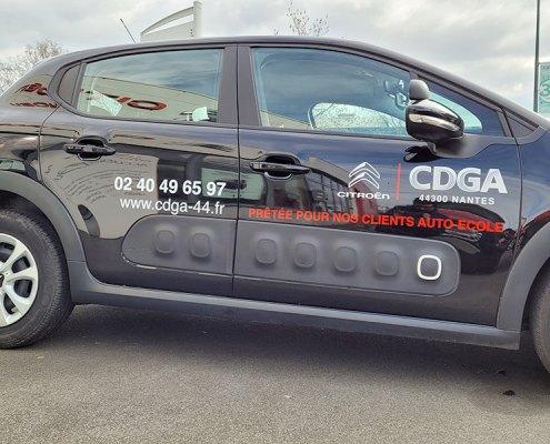 Marquage véhicule de courtoisie Auto-École Citroën CDGA Nantes