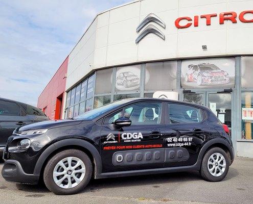 Marquage véhicule de courtoisie Auto-École Citroën CDGA Nantes - Label Communication