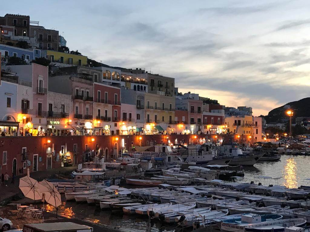 Beautiful Ponza Island in Italy during the night. You see the evening lights of the town.