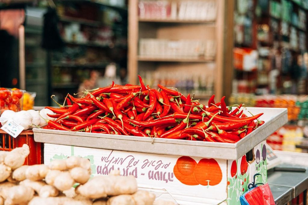 a display of red chili peppers on a local market.