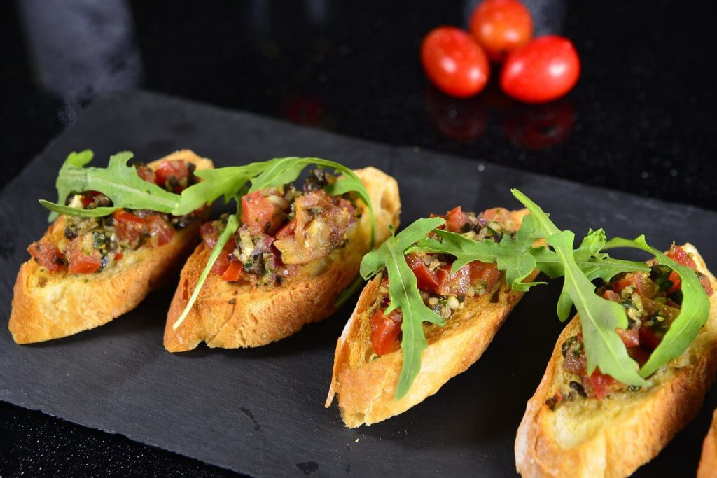 a few pintxos in display as an example of Spanish food to try