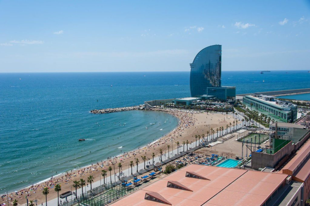 The impressive W hotel at Barceloneta beach is among the top most important things to see when you travel to Barcelona Spain #barcelona #travel