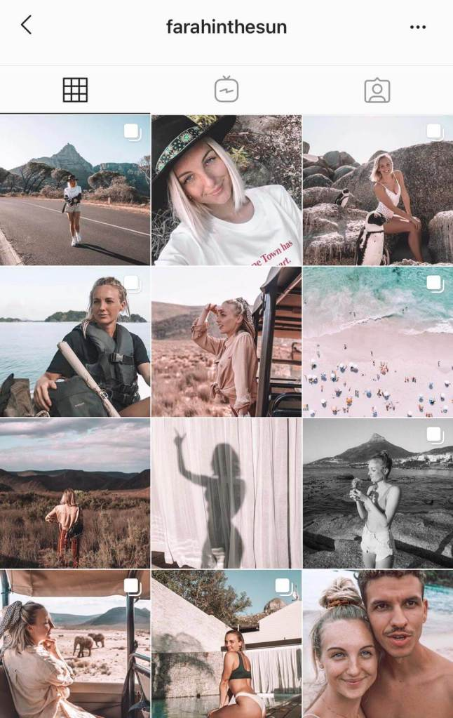 Instagram feed for travel blogger and content creator Farah in the Sun