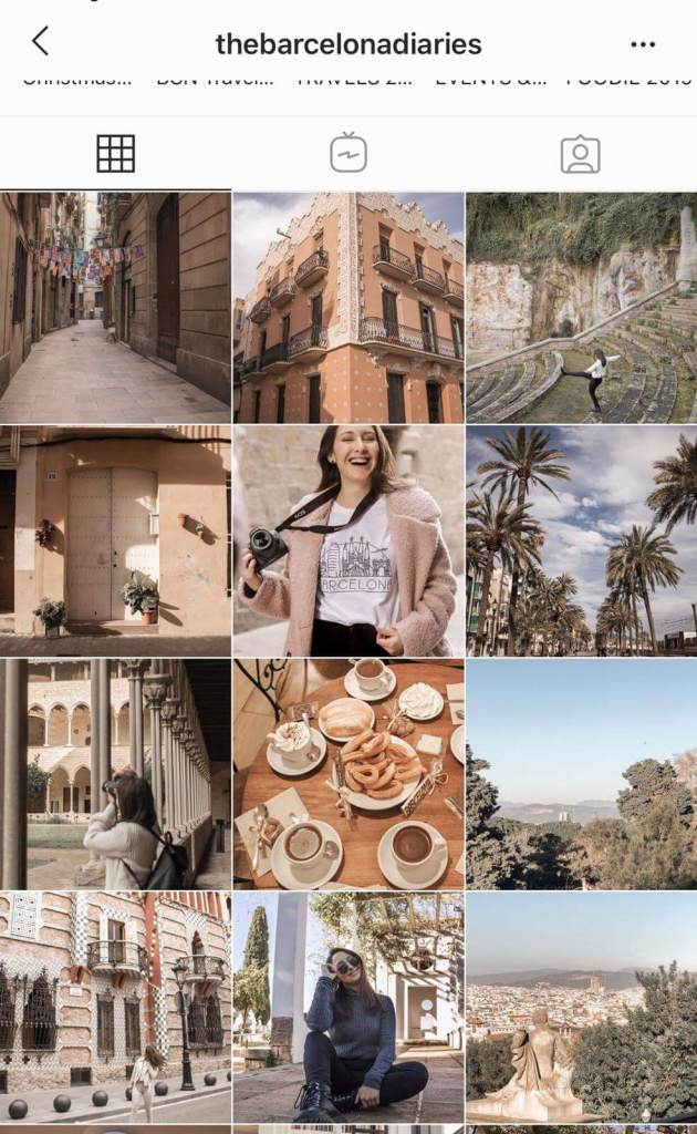 Instagram feed for travel blogger and content creator thebarcelonadiaries