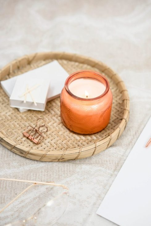 Spa Day at Home: Ideas for DIY homemade Spa   Dim the light and put on some aromatic candles of your preference (or scented oils, if preferred. You can burn them in this delicate set. salt lamp, which helps purify the air #spadayathome #diyspa