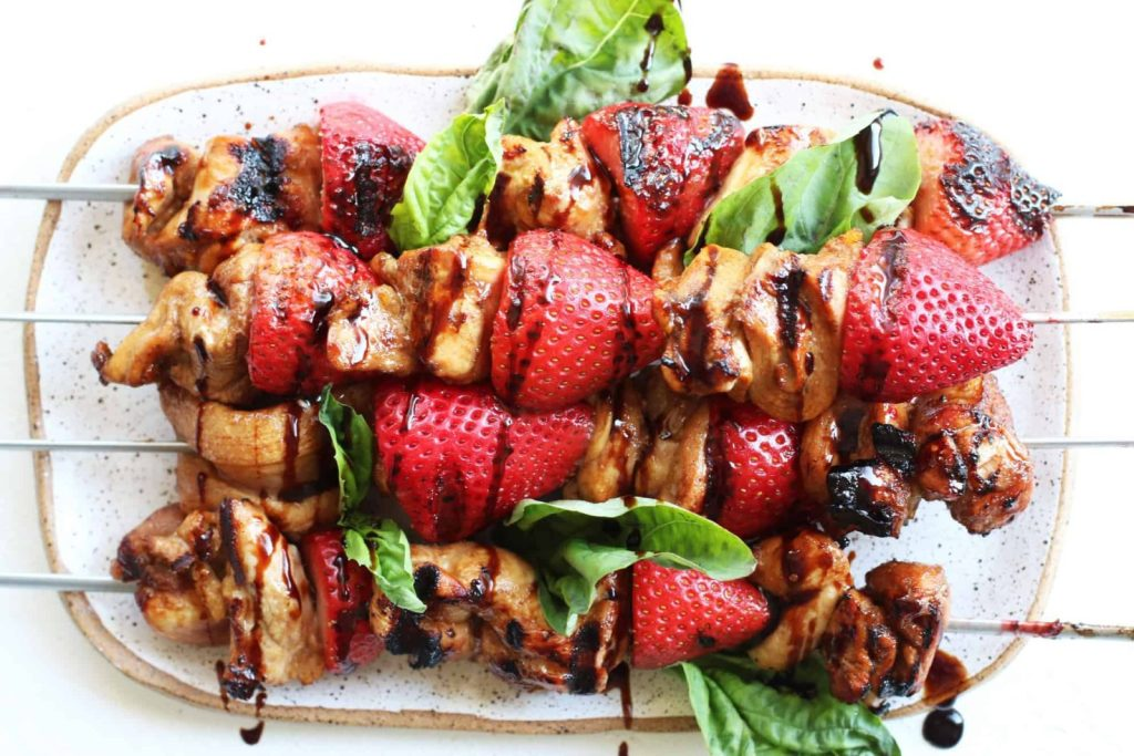 Grilled Strawberry Balsamic Chicken Kabobs.  I have put together some easy, colorful, and healthy  summer recipes to inspire you to keep  #balsamicchicken #healthysummerrecipes #healthyeating #summerrecipes