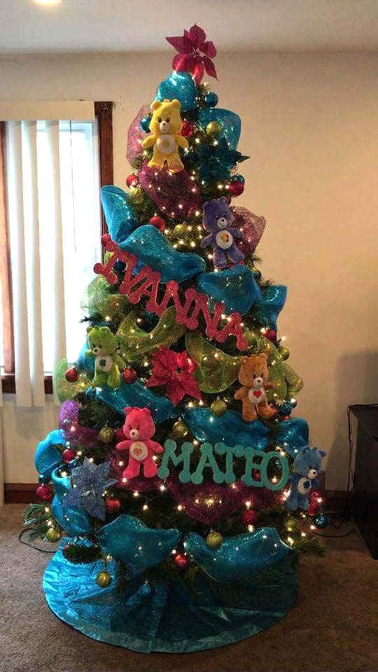 Cute Care Bears Christmas Tree | Want ideas for unique Christmas trees for the 2020 holiday season? Find inspiration ideas for your Christmas tree decoration from creative and unique xmas trees. From white, upside down, best Christmas trees on wall, pink Christmas trees, and even Disney Christmas tree decorations. From big and small unique Christmas tree ideas. Perfect for kids and for the holidays. #uniquechristmastree #christmastreeideas #christmastreeideas #christmas