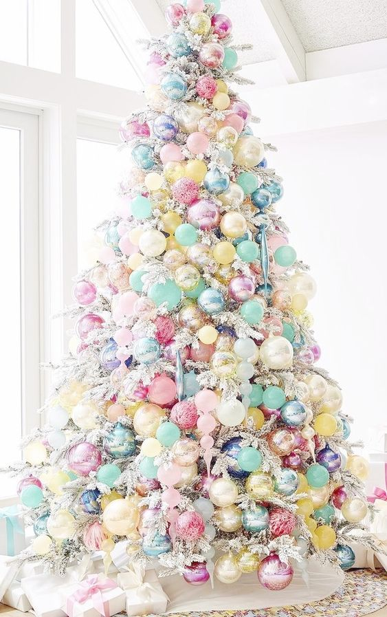 Cute Pastel Xmas Tree | Want ideas for unique Christmas trees for the 2020 holiday season? Find inspiration ideas for your Christmas tree decoration from creative and unique xmas trees. From white, upside down, best Christmas trees on wall, pink Christmas trees, and even Disney Christmas tree decorations. From big and small unique Christmas tree ideas. Perfect for kids and for the holidays. #uniquechristmastree #christmastreeideas #christmastreeideas #christmas