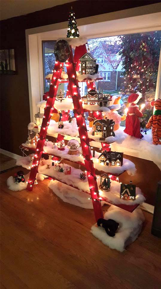 Another Adorable Staircase Christmas Tree | Want ideas for unique Christmas trees for the 2020 holiday season? Find inspiration ideas for your Christmas tree decoration from creative and unique xmas trees. From white, upside down, best Christmas trees on wall, pink Christmas trees, and even Disney Christmas tree decorations. From big and small unique Christmas tree ideas. Perfect for kids and for the holidays. #uniquechristmastree #christmastreeideas #christmastreeideas #christmas