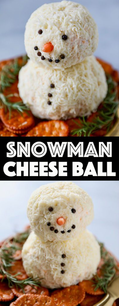 Snowman Cheeseball | Want to serve your guests the best Christmas party appetizers this year? Find a list of 40+ Christmas appetizers ideas & easy recipes for Christmas party appetizers, both sweet and savory holiday food. From elegant Christmas finger food ideas to easy dips, and simple crockpot holiday appetizers, (vegetarian, keto and even gluten-free appetizer ideas), perfect for a crowd and for kids. #christmaspartyappetizers #appetizersforchristmasparty #christmasparty #fingerfood #christmasfood