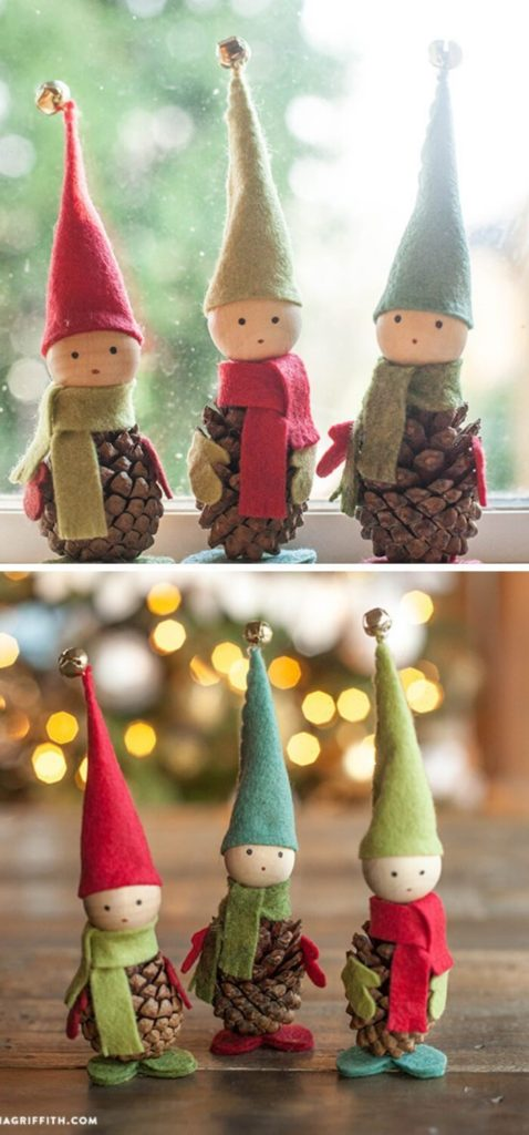 Cute DIY Elves Christmas Tree Ornaments DIY on a table