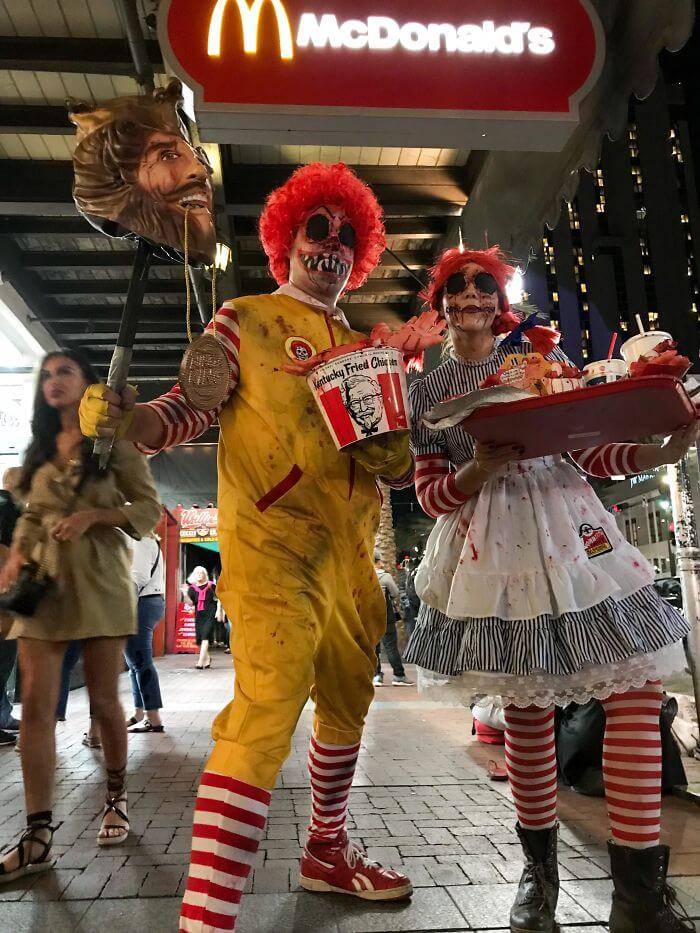 Scary Ronald McDonald and Wendy's Halloween Costume | Looking for iconic couples costume Halloween ideas for 2020? Find the best couples Halloween costume ideas, perfect for matching with your boyfriend. Find hot couples costume ideas, cool Disney characters costumes and the best DIY, funny, and scary couples Halloween costume inspiration. #CouplesCostumeHalloween #couplescostume #halloweencouples #halloween