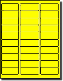 Fluorescent Yellow Address Labels 30 Per Sheet Avery 5160