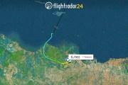 La imagen del radar muestra la ruta del avión de la aerolínea Sriwijaya Air Flight 182 antes de desaparecer del radar este sábado.