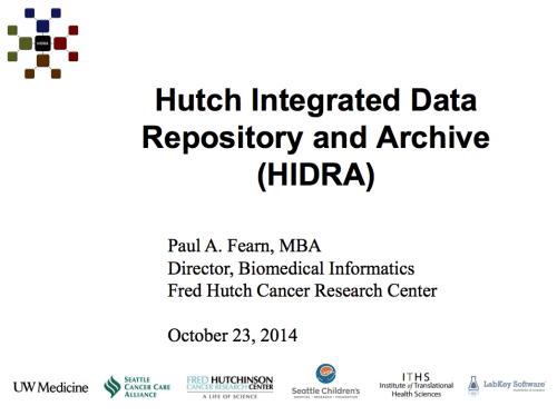 Progress Report on the Hutch Integrated Data Repository and Archive (HIDRA)