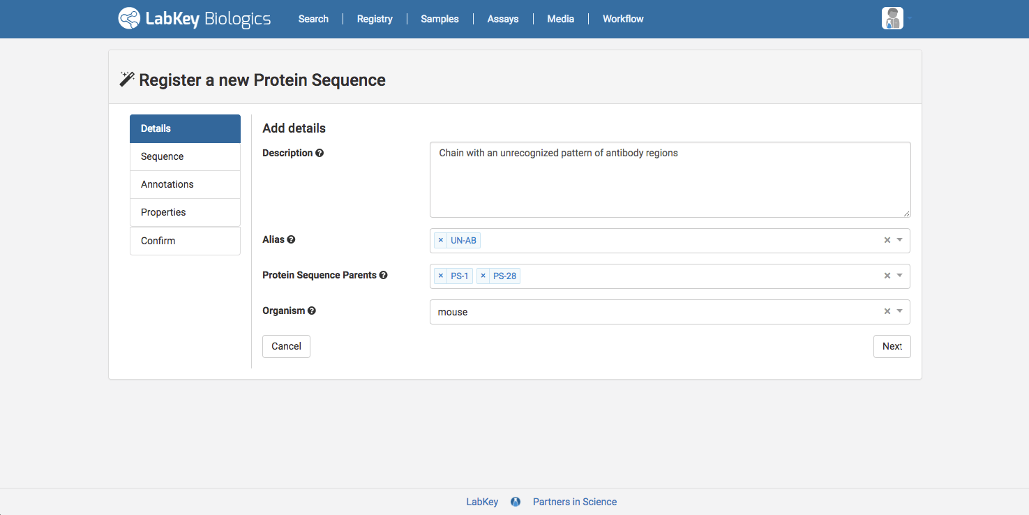 register protein sequence details