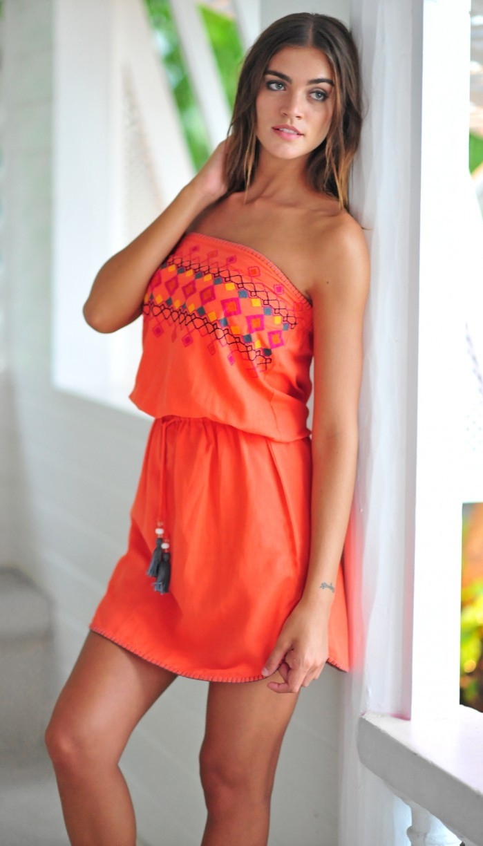 Coco bay embroidered pull on dress papaya