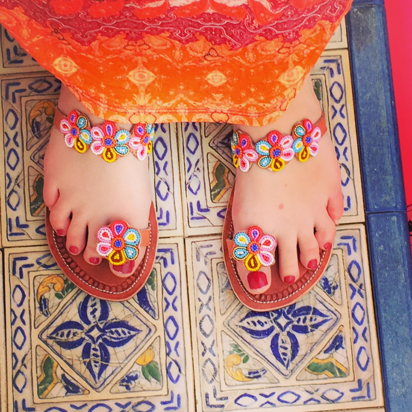 Beaded Floral Sandals