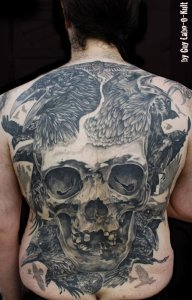 "Backpiece ""Skull and Crows"" by Guy Labo-O-Kult - 2013"