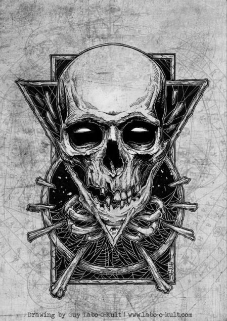"Pencil Drawing by Guy Labo-O-Kult for the official T-Shirt of the Trash Metal Festival ""Rock the Hell"""
