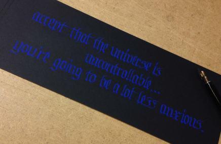 "Calligraphy blue on black ""Hutzli Fraktur Script Minuscle"""