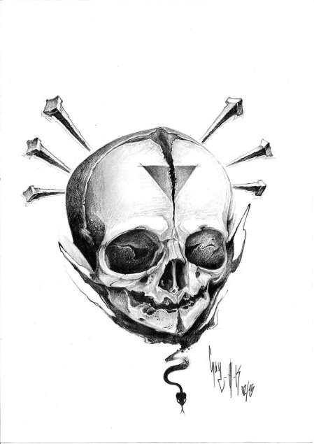 "pencil drawing by guy labo-o-kult ""nail 'n' skull"""