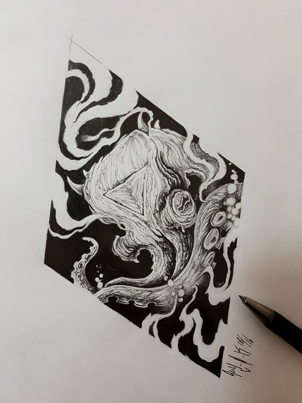 """Pencil Drawing """"Octopus"""" Guy Labo-O-Kult"""