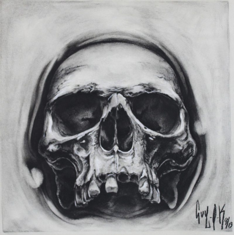 """Charcoal Drawing by Guy Labo-O-Kult """"Opening Skull"""""""