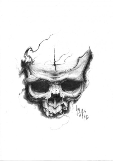 "Pencil Drawing ""Returned Cross Skull"""