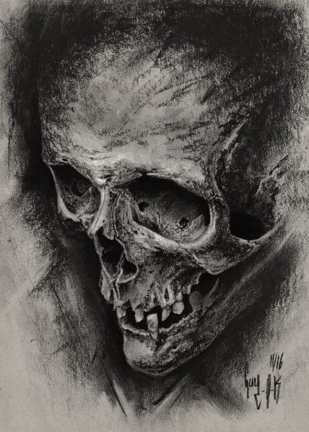"""charcoal drawing """"aeternum vale"""" by guy labo-o-kult"""