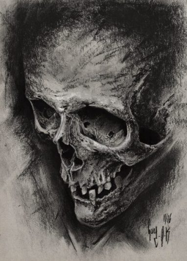 "charcoal drawing ""aeternum vale"" by guy labo-o-kult"