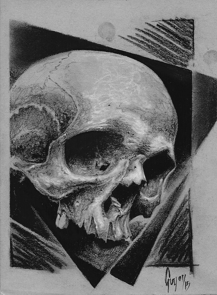 """Charcoal Drawing """"Skull on black Squares"""" by Guy Labo-O-Kult"""