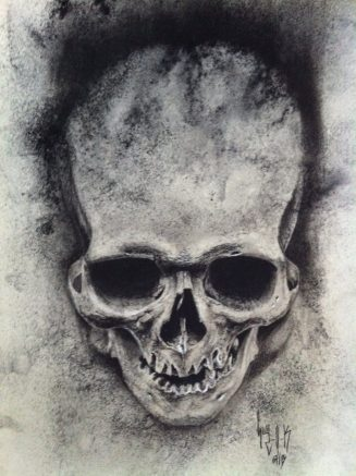 """Charcoal drawing """"Hot Splashes"""" by Guy Labo-O-Kult"""