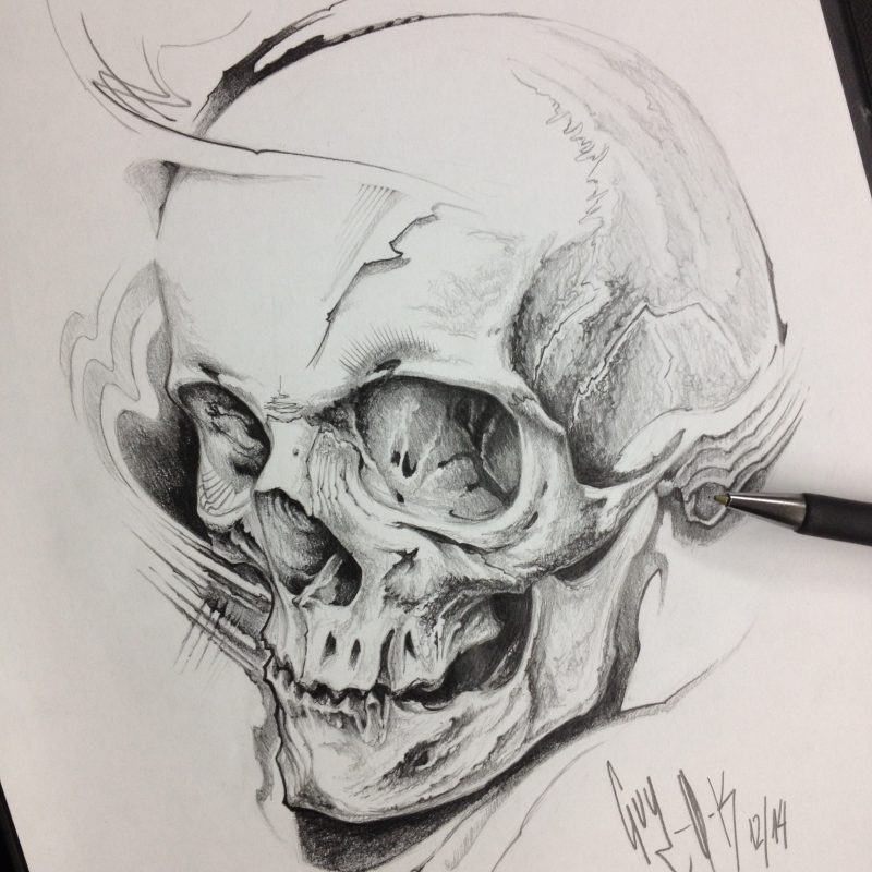 "Pencil Drawing ""Frag Skull"" Guy Labo-O-Kult"