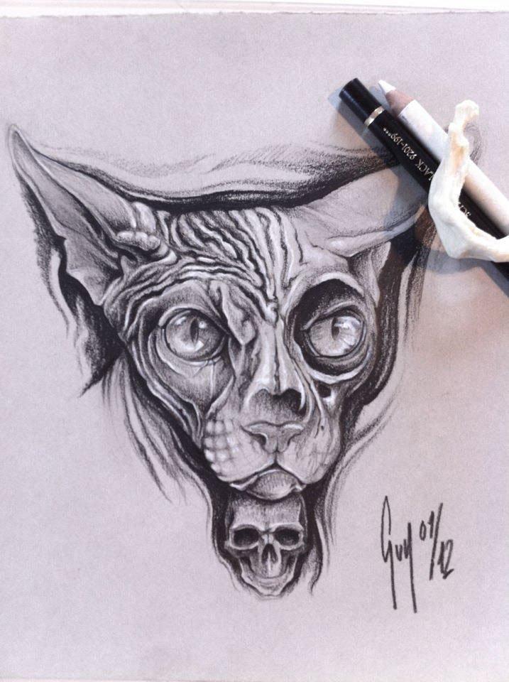"Pencil Drawing ""Sphinx Cat"" Guy Labo-O-Kult"