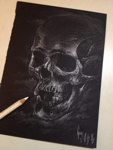 "Charcoal Drawing ""White Skull"" by Guy Labo-O-Kult"