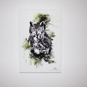 "Frontview of ""Bubo Bubo"" – HelvEdition Mixed Media Illustration by Ka L-O-K Fine Art Canvas Print"