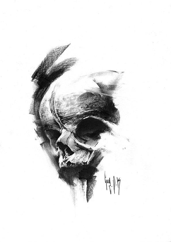 pulvis es - #748 — Dessin au charbon | Charcoal Drawing | Kohlezeichnung Guy Labo-O-Kult | FINE ART PRINTS AVAILABLE