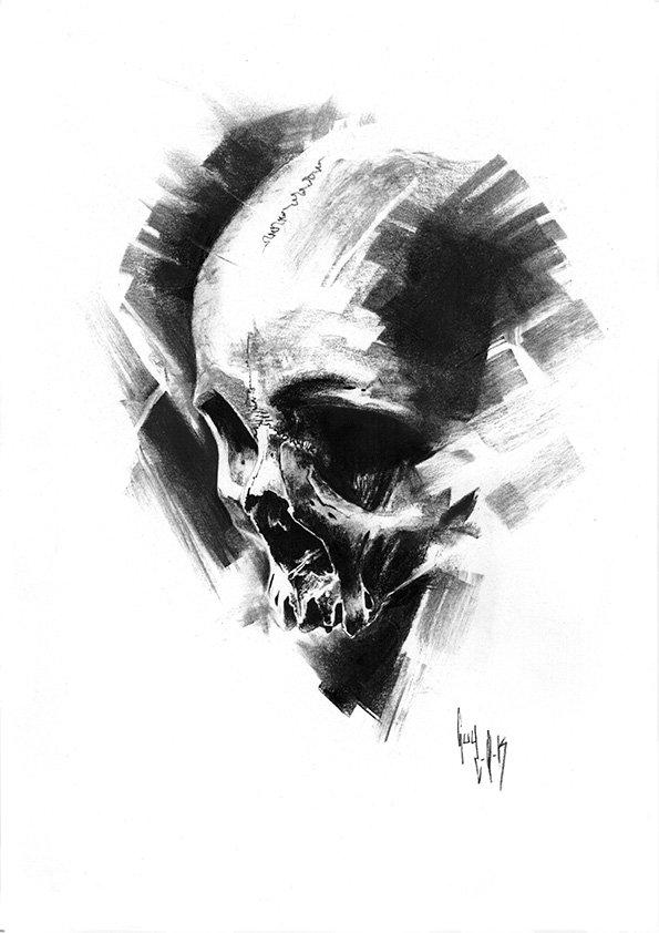 pulvis es - #760 — Dessin au charbon | Charcoal Drawing | Kohlezeichnung Guy Labo-O-Kult | FINE ART PRINTS AVAILABLE
