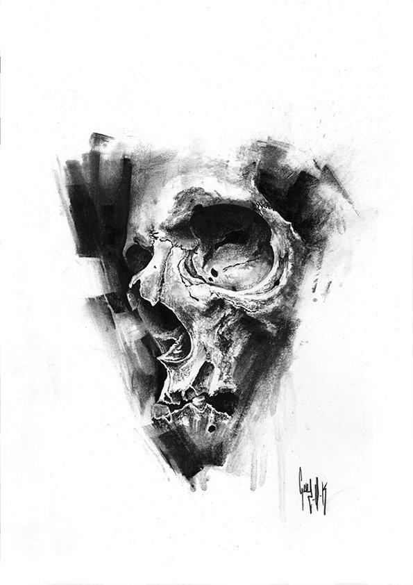 pulvis es - #767 — Dessin au charbon | Charcoal Drawing | Kohlezeichnung Guy Labo-O-Kult | FINE ART PRINTS AVAILABLE