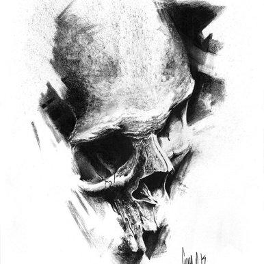 pulvis es - #771 — Dessin au charbon | Charcoal Drawing | Kohlezeichnung Guy Labo-O-Kult | FINE ART PRINTS AVAILABLE
