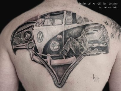 VW Bus Tattoo, done by Guy Labo-O-Kult
