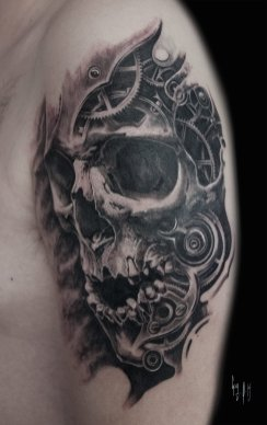 Skull mécanique par Guy Labo-O-Kult