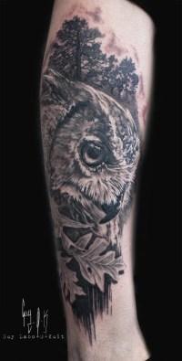 HEALED TATTOO - Eagle Owl and Oak Leaves by Guy Labo-O-Kult