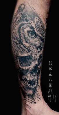 "Healed Tattoo ""Eagle Owl Skull"" by Guy Labo-O-Kult   2018"