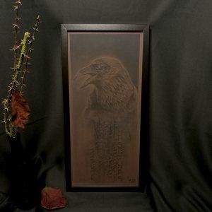 Raven | Kunstdruck nach einer Kohlezeichnung von Guy Labo-O-Kult mit Kalligrafie von Ka L-O-K