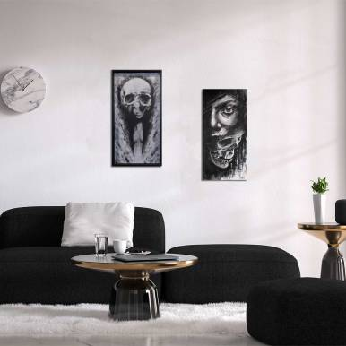 """Suggestion de présentation avec les tableaux originaux """"Putrescine"""" et """"Deceptio"""" de Guy Labo-O-Kult"""