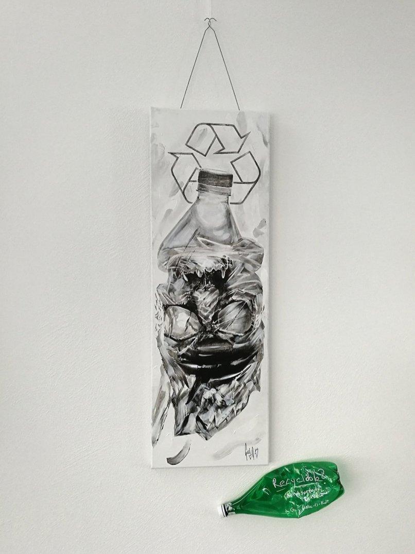 """Recyclable?"" von Guy Labo-O-Kult | Originalwerk – Acryl auf Leinwand"