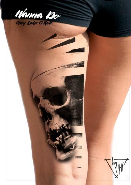 "Idee Wanna Do ""Stairy Skull"" von Guy Labo-O-Kult"